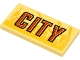 Part No: 87079pb0802  Name: Tile 2 x 4 with Red and Black 'CITY' on Bright Light Yellow Background and Yellow Skyline Pattern (Sticker) - Set 60271