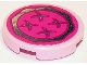 Part No: 14769pb106  Name: Tile, Round 2 x 2 with Bottom Stud Holder with Magenta Cushion with Chrome Silver Trim and Buttons Pattern (Sticker) - Set 41095