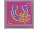 Part No: 3068bpb0622  Name: Tile 2 x 2 with Groove with Horseshoe and Flower Pattern (Sticker) - Set 3189