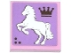 Part No: 3068bpb0785L  Name: Tile 2 x 2 with Groove with Crown and White Rearing Horse Facing Left Pattern (Sticker) - Set 3185