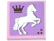 Part No: 3068bpb0785R  Name: Tile 2 x 2 with Groove with Crown and White Rearing Horse Facing Right Pattern (Sticker) - Set 3185