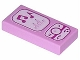 Part No: 3069bpb0175  Name: Tile 1 x 2 with Groove with Magenta and White Cell Phone / Music Player Pattern