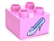 Part No: 3437pb040  Name: Duplo, Brick 2 x 2 with Light Blue Shoe Cinderella Glass Slipper Pattern