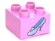 Part No: 3437pb040  Name: Duplo, Brick 2 x 2 with Light Blue Shoe Cinderella Glass Slipper Pattern