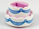 Lot ID: 237205326  Part No: 35860pb01  Name: Cake, Double Layer with White Icing and Bright Light Blue Ribbons Pattern