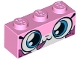 Part No: 3622pb076  Name: Brick 1 x 3 with Cat Face Wide Eyes, Closed Mouth with Tongue Sticking Out, Dark Pink Splotches Pattern (Dessert Unikitty)