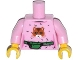 Part No: 973pb1605c01  Name: Torso Female Top with Cat Head, Hair and Green Money Belt Pattern / Bright Pink Arms / Yellow Hands