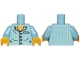 Part No: 973pb1024c01  Name: Torso Pajamas 4 Buttons and Vertical Light Aqua Stripes Pattern / Bright Light Blue Arms with Light Aqua Stripes / Yellow Hands