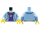 Part No: 973pb2344c01  Name: Torso Hooded Sweatshirt Open with Purple Shirt with Silver Star Pattern / Bright Light Blue Arms / Yellow Hands