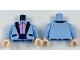 Part No: 973pb2846c01  Name: Torso Tuxedo Jacket with Silver Dots, Bright Pink Ruffled Shirt Pattern / Bright Light Blue Arms with Silver Dots Pattern / Light Nougat Hands