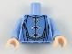 Part No: 973pb3238c01  Name: Torso Robes with 3 Silver Frog Clasps, Medium Blue Details, Medium Nougat Belt Pattern / Bright Light Blue Arms / Light Nougat Hands