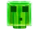 Part No: 19729pb021  Name: Minifigure, Head Modified Cube with 3 Dark Green Squares Pattern (Minecraft Slime)