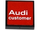 Part No: 11203pb022  Name: Tile, Modified 2 x 2 Inverted with 'Audi' and 'customer' on Red Background Pattern (Sticker) - Set 75873