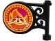 Part No: 13459pb002  Name: Road Sign Round on Pole with Fruit Pie and Flames Pattern on Both Sides (Stickers) - Set 41074