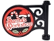 Part No: 13459pb006  Name: Road Sign Round on Pole with 'Santa's Workshop', Candy Cane, Santa Hat and Holly Pattern on Both Sides (Stickers) - Set 10245