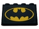 Part No: 14718pb035  Name: Panel 1 x 4 x 2 with Side Supports - Hollow Studs with Metal Plate and Yellow Batman Logo Pattern (Sticker) - Set 76160