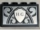 Part No: 14718pb047  Name: Panel 1 x 4 x 2 with Side Supports - Hollow Studs with 'H.G.' and Shield on Ornate Silver Background Pattern