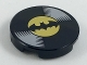 Part No: 14769pb200  Name: Tile, Round 2 x 2 with Bottom Stud Holder with Vinyl Record with Batman Logo Pattern