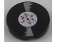 Part No: 14769pb216  Name: Tile, Round 2 x 2 with Bottom Stud Holder with Vinyl Record with Asian Characters Pattern
