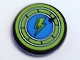 Part No: 14769pb231  Name: Tile, Round 2 x 2 with Bottom Stud Holder with Lime Lightning Bolt in Dark Azure Circle with Lime Border Pattern (Sticker) - Set 41346