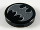 Part No: 14769pb294  Name: Tile, Round 2 x 2 with Bottom Stud Holder with Pearl Dark Gray Bat Batman Logo with Silver Edges Pattern