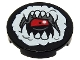 Part No: 14769pb305  Name: Tile, Round 2 x 2 with Bottom Stud Holder with White Open Mouth, Fangs and Tongue Pattern