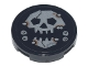 Part No: 14769pb372  Name: Tile, Round 2 x 2 with Bottom Stud Holder with Silver Skull with Jaw and Metal Rivets with Rust Pattern (Sticker) - Set 70840