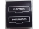 Part No: 15068pb008  Name: Slope, Curved 2 x 2 with 'ELECTRICS' and 'PNEUMATICS' with White Outline Pattern (Sticker) - Set 60052