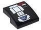 Part No: 15068pb059L  Name: Slope, Curved 2 x 2 with Silver Belt Pattern Model Left Side (Sticker) - Set 76051