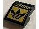Part No: 15068pb376  Name: Slope, Curved 2 x 2 with Black and Gold 'adidas' and Trefoil Logo Pattern (Sticker) - Set 40486