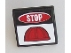 Part No: 15210pb003  Name: Road Sign Clip-On 2 x 2 Square Open O Clip with 'STOP' and Red Construction Helmet Pattern (Sticker) - Set 60098