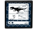 Part No: 15210pb004  Name: Road Sign 2 x 2 Square with Open O Clip with Indominus rex Silhouette, DNA Double Helix and '4/9' on Computer Screen Pattern (Sticker) - Set 75919