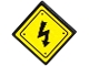 Part No: 15210pb005  Name: Road Sign 2 x 2 Square with Open O Clip with Electricity Danger Sign and 4 Rivets Pattern (Sticker) - Set 75919