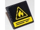 Part No: 15210pb009  Name: Road Sign 2 x 2 Square with Open O Clip with Yellow Flammable Danger Triangle and Black Lines Pattern (Sticker) - Set 60107