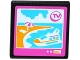 Part No: 15210pb011  Name: Road Sign Clip-on 2 x 2 Square Open O Clip with 'TV', Cruise Ship and Beach on Screen Pattern (Sticker) - Set 41100