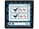 Part No: 15210pb051  Name: Road Sign 2 x 2 Square with Open O Clip with 2 Raptor Silhouettes, Heart Monitor Line and '4/9' on Computer Screen Pattern (Sticker) - Set 75917