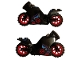 Part No: 18895c07pb01  Name: Motorcycle Sport Bike with Black Frame, Red Wheels and Dark Bluish Gray Handlebars with Red Ninjago Logogram 'DS' Circle, Dragon Pattern on Both Sides (Stickers) - Set 70638