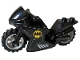 Part No: 18895c17pb01  Name: Motorcycle Sport Bike with Black Frame, Light Bluish Gray Wheels and Black Handlebars with Batman Logo Pattern on Both Sides (Stickers) - Set 76160