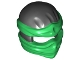 Part No: 19857pb05  Name: Minifigure, Headgear Ninjago Wrap Type 2 with Green Wraps and Knot Pattern