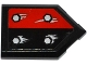 Part No: 22385pb052  Name: Tile, Modified 2 x 3 Pentagonal with 4 Silver Bolts and Corrosion on Black / Red Halves Pattern (Sticker) - Set 70316