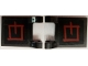 Part No: 2335pb157  Name: Flag 2 x 2 Square with Dark Red Asian Character 2 on Black Background Pattern on Both Sides (Stickers) - Set 79101