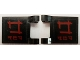 Part No: 2335pb158  Name: Flag 2 x 2 Square with Dark Red Asian Character 3 on Black Background Pattern on Both Sides (Stickers) - Set 79101