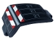 Part No: 24116pb016L  Name: Technic, Panel Curved 3 x 5 x 3 with Red and White Danger Stripes and Dark Bluish Gray '2T' Pattern Model Left Side (Sticker) - Set 42108