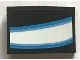 Part No: 24309pb026L  Name: Slope, Curved 3 x 2 with White and Blue Curved Stripes Iron Man Eye Pattern Model Left Side (Sticker) - Set  76165