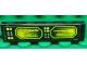 Part No: 2431pb230L  Name: Tile 1 x 4 with Buttons and Neon Green Screens on Black Background Pattern Model Left Side (Sticker) - Set 8107