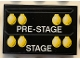 Part No: 26603pb150  Name: Tile 2 x 3 with White 'PRE-STAGE' and 'STAGE', Yellow Lights Pattern (Sticker) - Set 42103