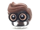 Part No: 28149pb01  Name: Minifigure, Hair Combo, Large Thick Glasses with Reddish Brown Hair, Parted and Wavy with Light Flesh Skin and White Pupils Pattern