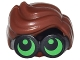 Part No: 28149pb03  Name: Minifigure, Hair Combo, Large Thick Glasses with Reddish Brown Hair, Parted and Wavy with Bright Green Lenses, Pupils Looking Up Pattern