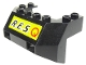 Part No: 2916pb01  Name: Train Front Sloping Base with Black 'R.E.S.' and Red 'Q' on Yellow Background Pattern (Sticker) - Set 6473