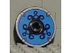Part No: 2958pb029  Name: Technic, Disk 3 x 3 with Viking Shield Black Curly / Blue Pattern (Sticker)